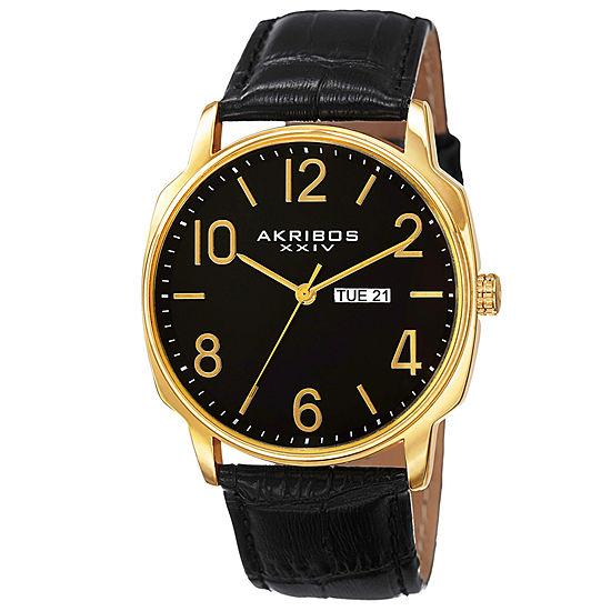 Akribos XXIV Mens Black Leather Strap Watch-A-801yg