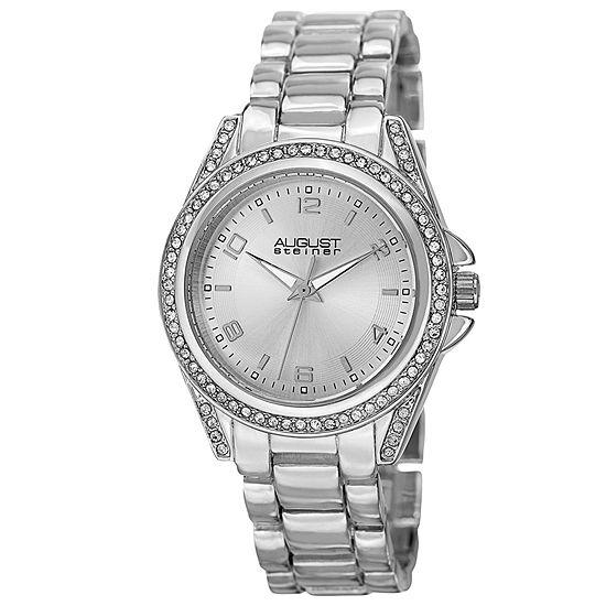 August Steiner Womens Silver Tone Strap Watch-As-8149ss