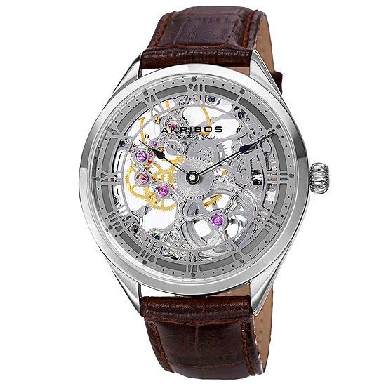 Akribos XXIV Mens Brown Leather Strap Watch-A-802gy