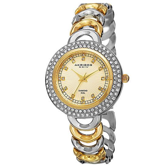 Akribos XXIV Womens Two Tone Strap Watch-A-804ttg
