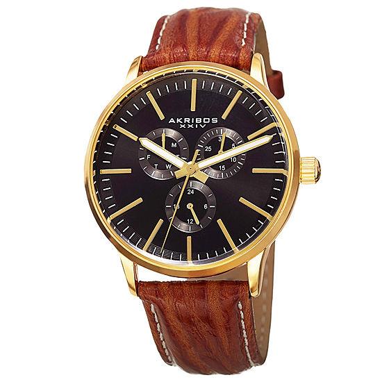 Akribos XXIV Mens Brown Leather Strap Watch-A-838yg