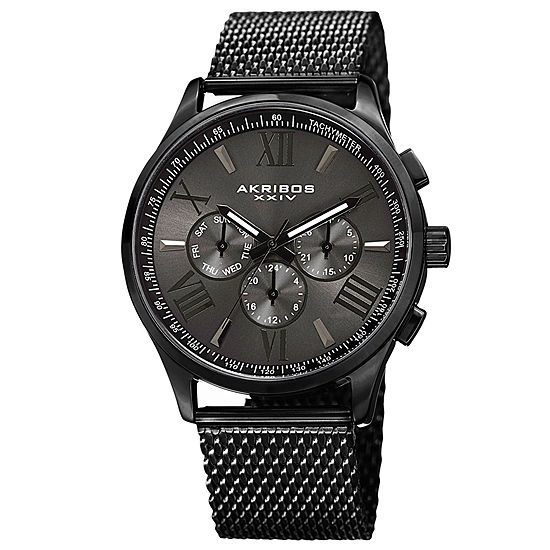 Akribos XXIV Mens Black Stainless Steel Strap Watch-A-844bk