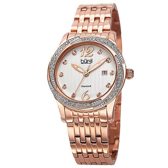Burgi Set With Swarovski Crystals Womens Rose Goldtone Stainless Steel Bracelet Watch-B-102rg