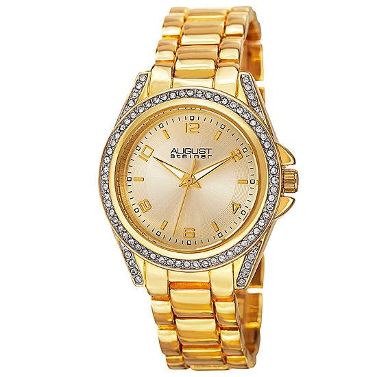 August Steiner Womens Gold Tone Bracelet Watch-As-8149yg
