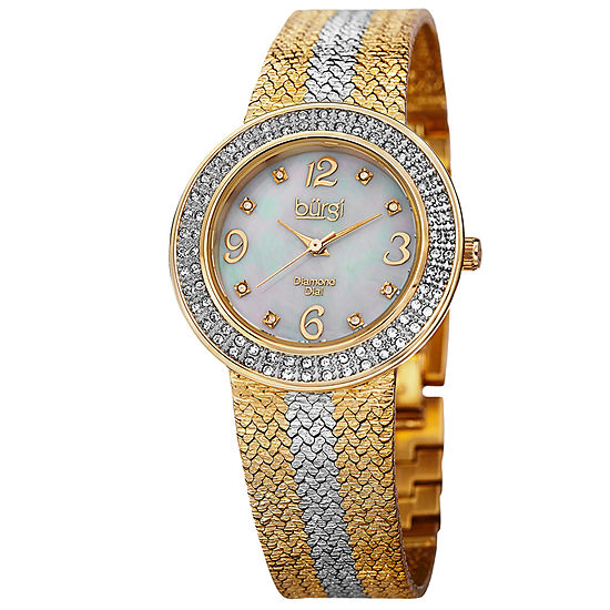Burgi Womens Two Tone Strap Watch-B-097ttg