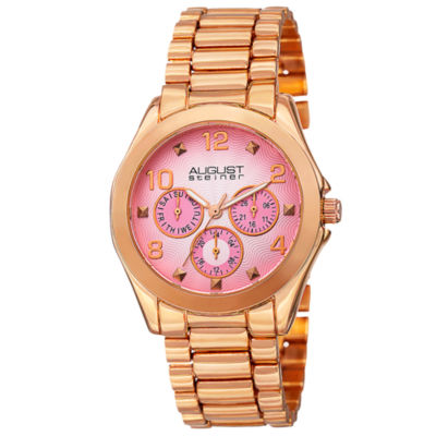 August Steiner Womens Rose Goldtone Strap Watch-As-8150rg