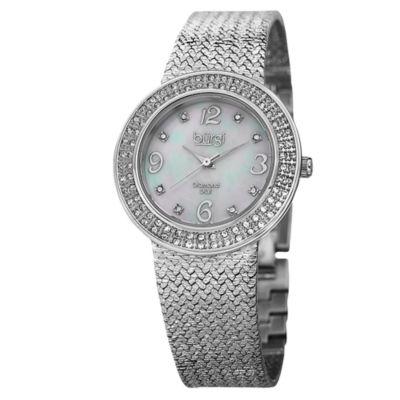 Burgi Womens Silver Tone Strap Watch-B-097ss