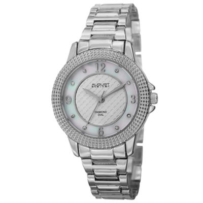 August Steiner Womens Silver Tone Strap Watch-As-8154ss