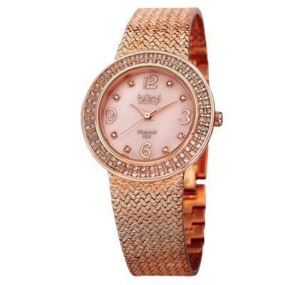 Burgi Womens Rose Goldtone Strap Watch-B-097rg