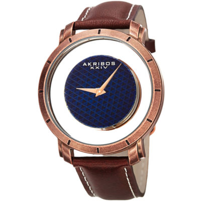Akribos XXIV Mens Brown Strap Watch-A-856rgbr