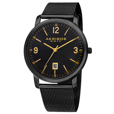 Akribos XXIV Mens Black Strap Watch-A-858bk