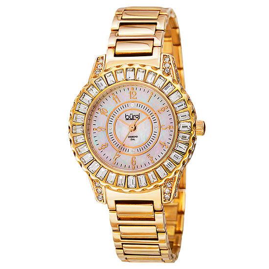 Burgi Womens Gold Tone Strap Watch-B-095yg