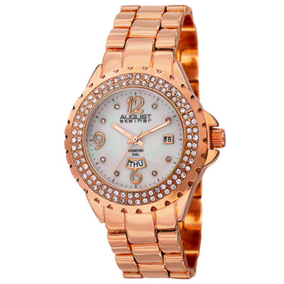 August Steiner Womens Rose Goldtone Strap Watch-As-8156rg