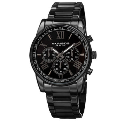 Akribos XXIV Mens Black Strap Watch-A-865bk