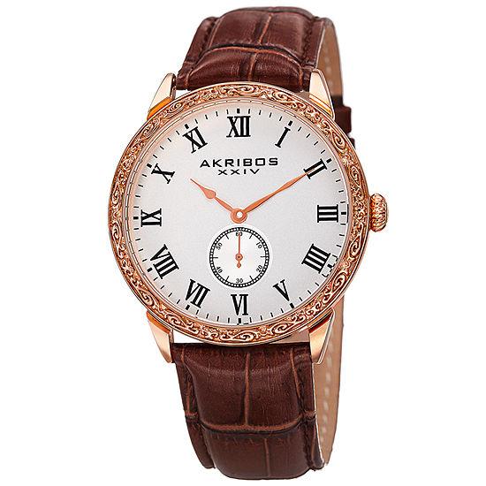 Akribos XXIV Mens Brown Leather Strap Watch-A-867rg