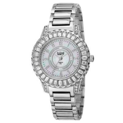 Burgi Womens Silver Tone Strap Watch-B-095ss