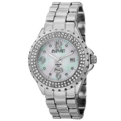 August Steiner Womens Silver Tone Strap Watch-As-8156ss