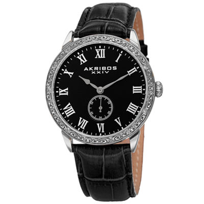 Akribos XXIV Mens Black Strap Watch-A-867ssb