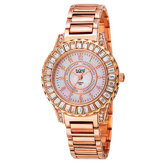 Burgi Womens Rose Goldtone Strap Watch-B-095rg