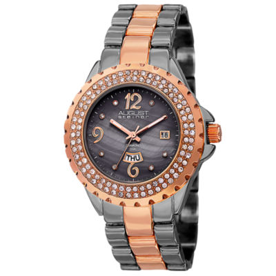 August Steiner Womens Two Tone Strap Watch-As-8156ttr