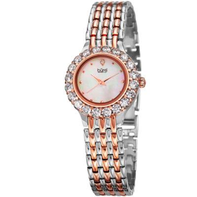 Burgi Womens Two Tone Strap Watch-B-107ttr
