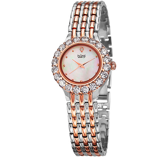 Burgi Womens Two Tone Strap Watch-B-107ttr