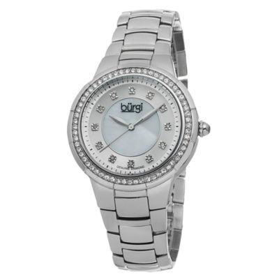 Burgi Womens Silver Tone Strap Watch-B-093ss