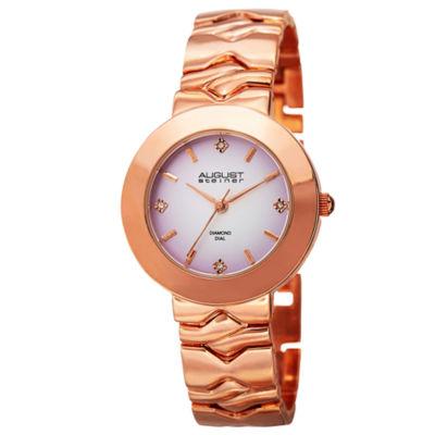 August Steiner Womens Rose Goldtone Strap Watch-As-8157rg
