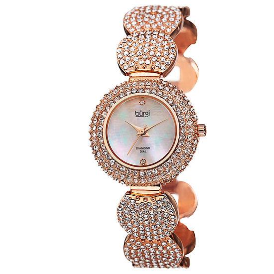 Burgi Set With Swarovski Crystals Womens Rose Goldtone Strap Watch-B-109rg