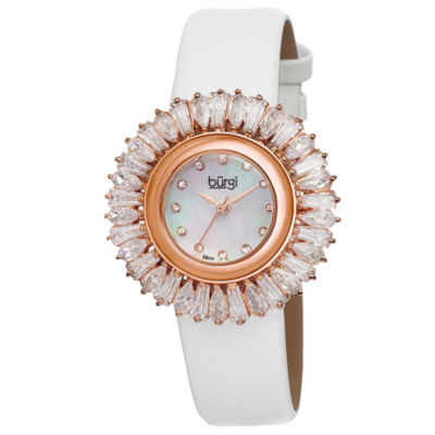 Burgi Womens White Strap Watch-B-092wt