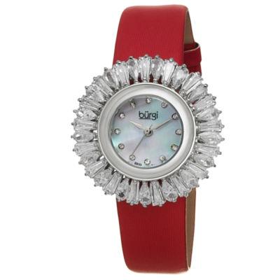 Burgi Womens Red Strap Watch-B-092rd