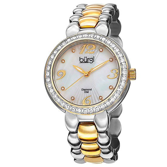 Burgi Womens Two Tone Strap Watch-B-084ttg