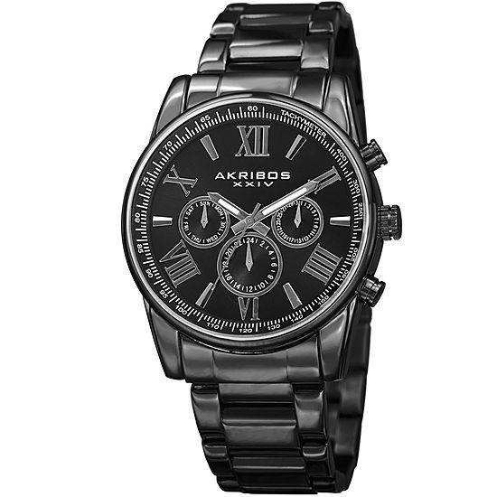 Akribos XXIV Mens Black Stainless Steel Strap Watch-A-904bk