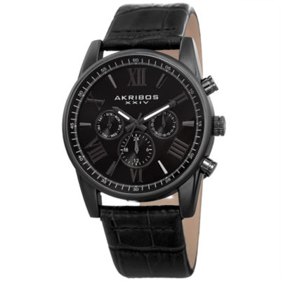 Akribos XXIV Mens Black Strap Watch-A-911bk