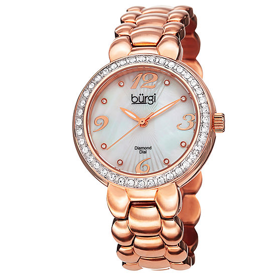 Burgi Womens Rose Goldtone Stainless Steel Strap Watch-B-084rg