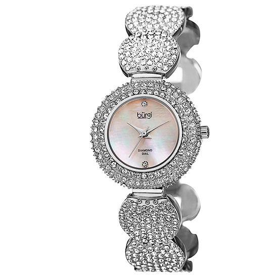 Burgi Set With Swarovski Crystals Womens Silver Tone Strap Watch-B-109ss