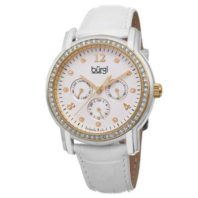 Burgi Womens White Strap Watch-B-083ygw