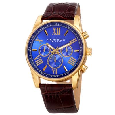 Akribos XXIV Mens Brown Strap Watch-A-911ygbu