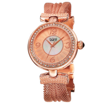 Burgi Womens Rose Goldtone Strap Watch-B-110rg