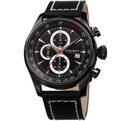 Akribos XXIV Mens Black Strap Watch-A-915bk