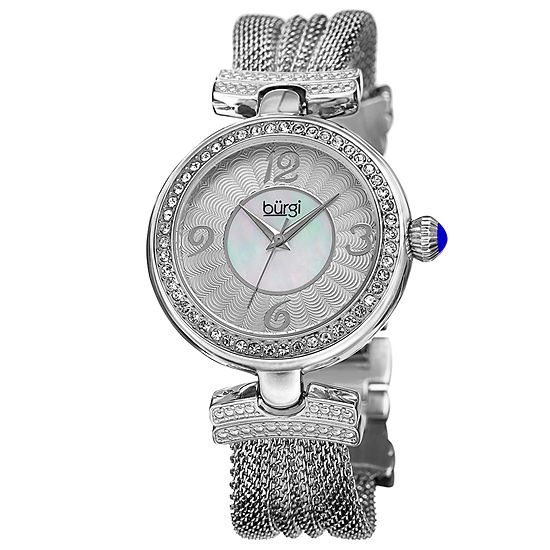 Burgi Womens Silver Tone Strap Watch-B-110ss
