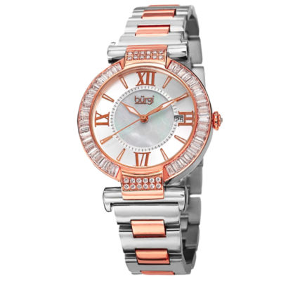 Burgi Womens Two Tone Strap Watch-B-082ttr