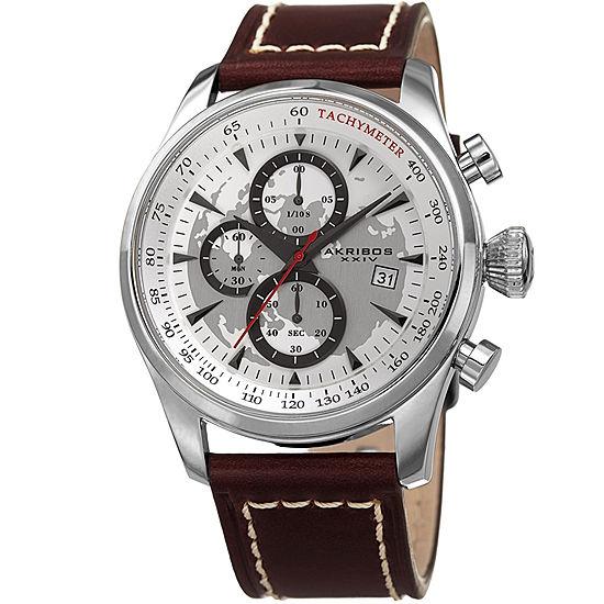 Akribos XXIV Mens Brown Leather Strap Watch-A-915ss