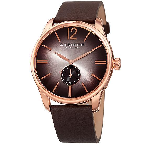 Akribos XXIV Mens Brown Leather Strap Watch-A-916rg