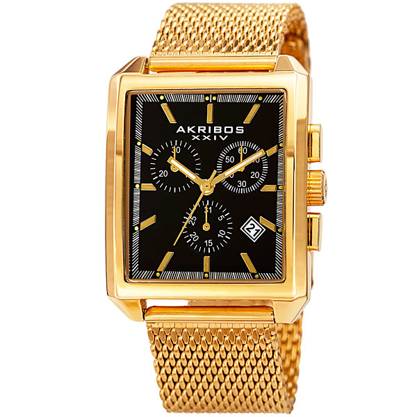 Akribos XXIV Mens Gold Tone Strap Watch-A-918ygb