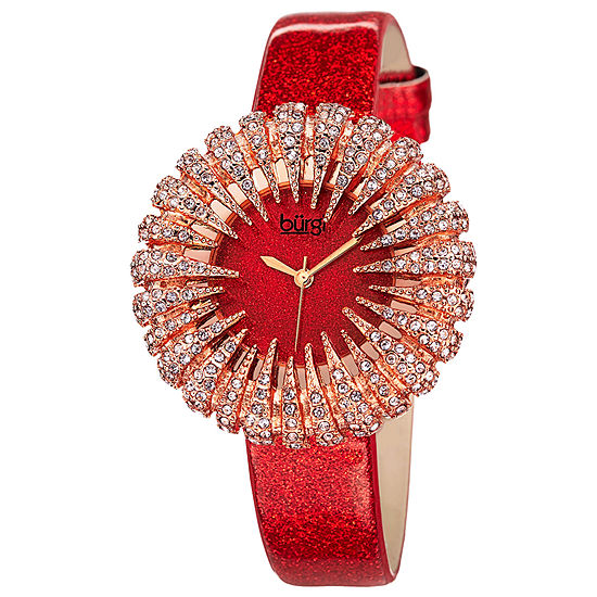Burgi Womens Red Strap Watch B 112rd