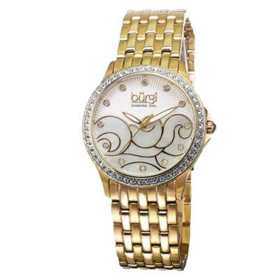 Burgi Womens Gold Tone Strap Watch-B-081yg