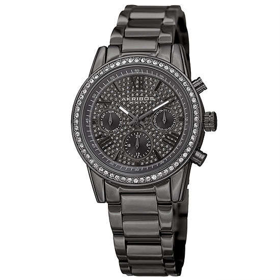 Akribos XXIV Set With Swarovski Crystals Womens Gray Stainless Steel Strap Watch-A-926gn