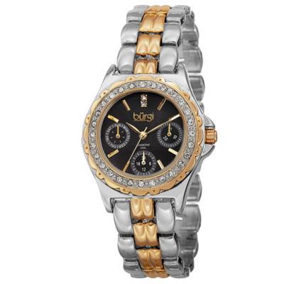 Burgi Womens Two Tone Strap Watch-B-117ttg