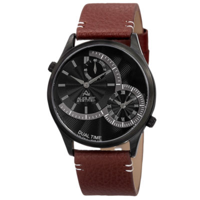 August Steiner Mens Brown Strap Watch-As-8167bkbr